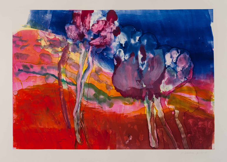 Monotype titled River, 6: Purple Blossoms