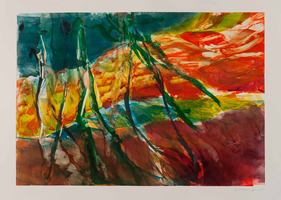 Monotype titled - River, 7: Yellow River with Stems