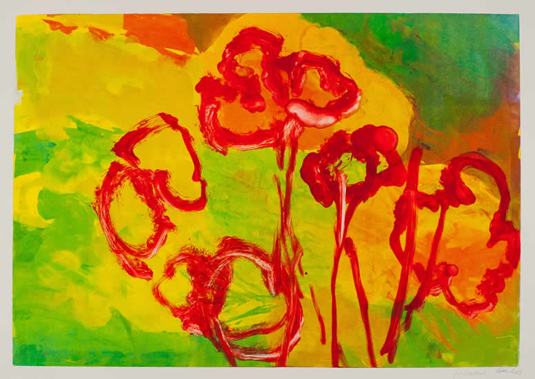 Monotype titled - Garden in Green, Red and Yellow, 2013