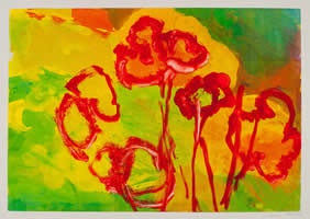 Monotype titled - Garden in Green, Red and Yellow