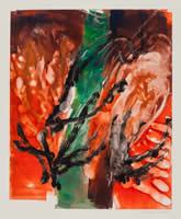 Monotype titled - Black Trees By Red River, 2