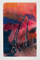Monotype titled - Silver Ladders 2