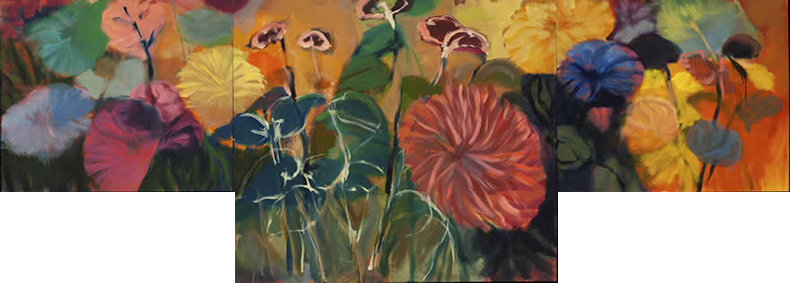 painting titled - Zinnias 5